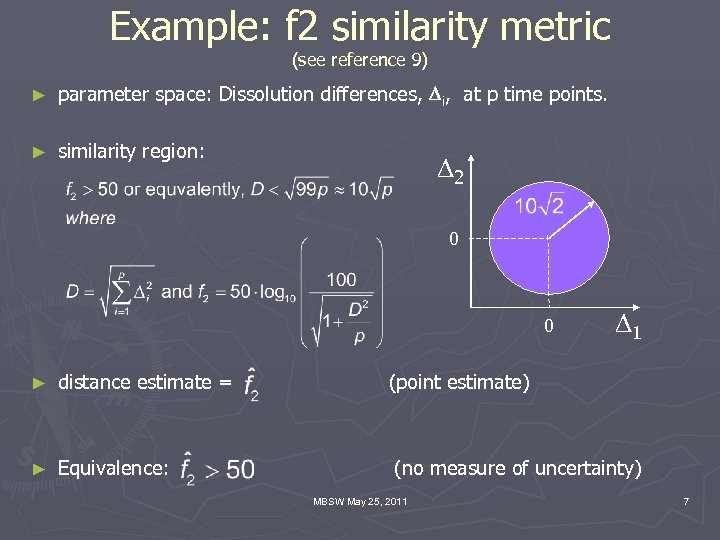 Example: f 2 similarity metric (see reference 9) ► parameter space: Dissolution differences, Di,