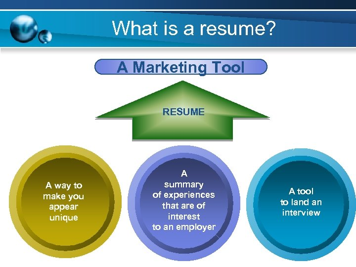 What is a resume? A Marketing Tool RESUME A way to make you appear