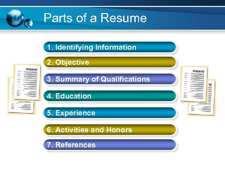 Parts of a Resume 1. Identifying Information 2. Objective 3. Summary of Qualifications 4.