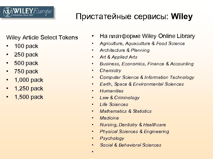 Пристатейные сервисы: Wiley Article Select Tokens • 100 pack • 250 pack • 500