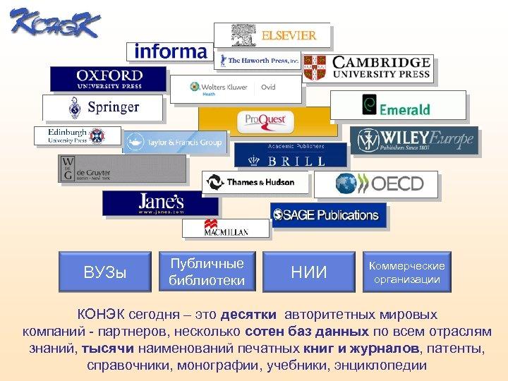 ВУЗы Публичные библиотеки НИИ Коммерческие организации КОНЭК сегодня – это десятки авторитетных мировых компаний