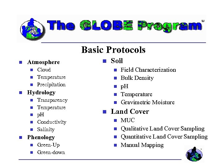 Basic Protocols Atmosphere Cloud Temperature Precipitation Transparency Temperature p. H Conductivity Salinity Phenology Green-Up