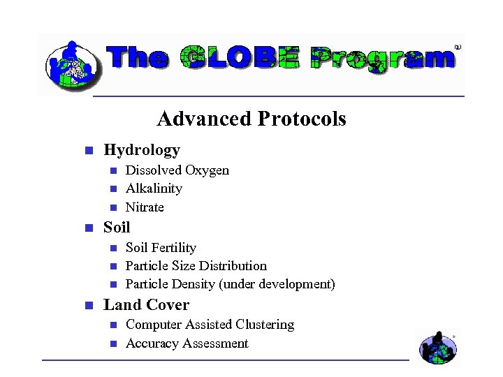 Advanced Protocols Hydrology Soil Dissolved Oxygen Alkalinity Nitrate Soil Fertility Particle Size Distribution Particle