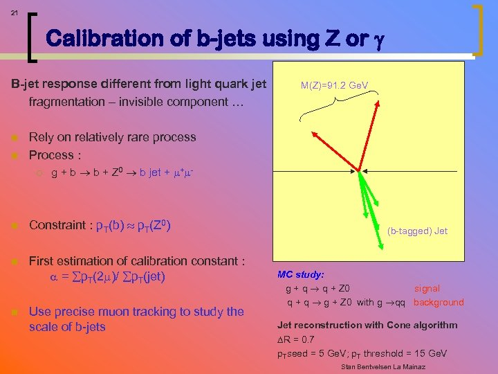 21 Calibration of b-jets using Z or B-jet response different from light quark jet