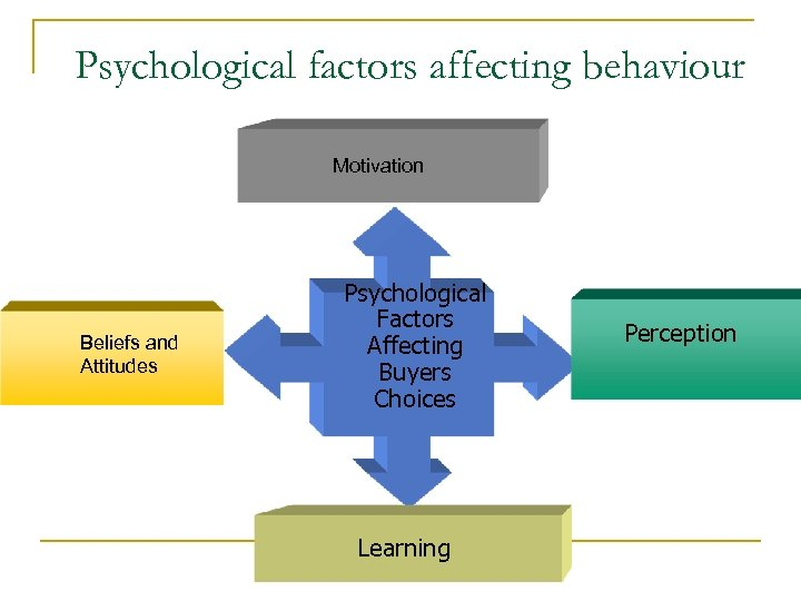Psychological factors affecting behaviour Motivation Beliefs and Attitudes Psychological Factors Affecting Buyers Choices Learning