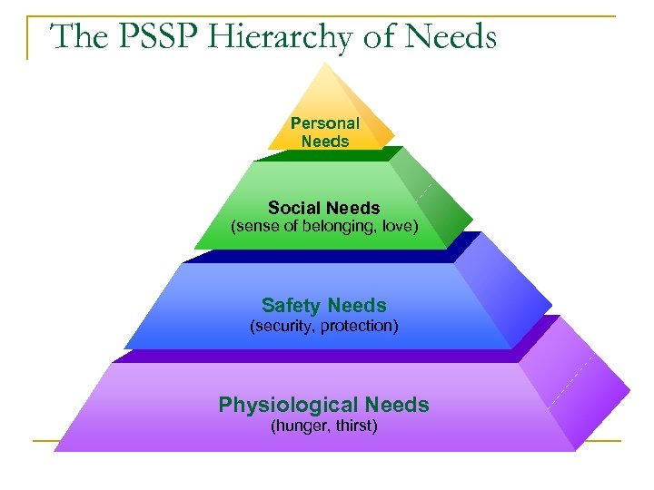 The PSSP Hierarchy of Needs Personal Needs Social Needs (sense of belonging, love) Safety