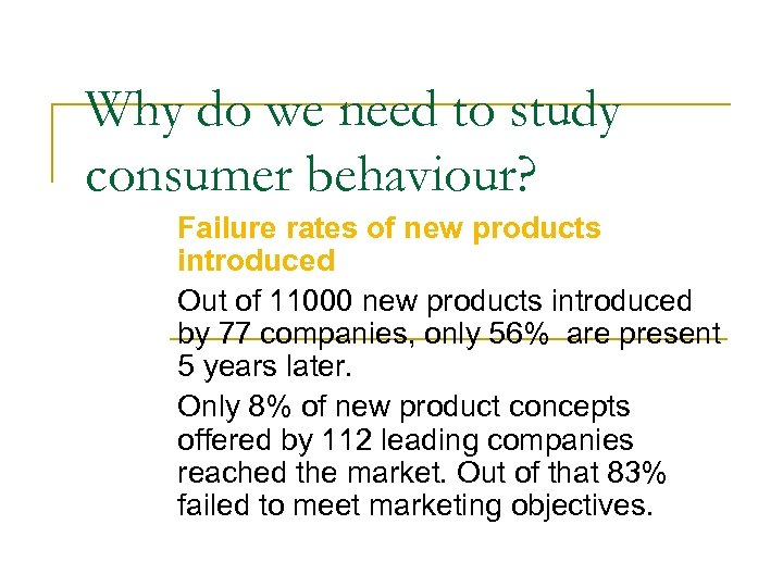 Why do we need to study consumer behaviour? Failure rates of new products introduced