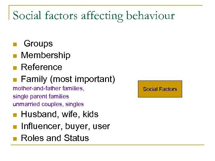 Social factors affecting behaviour n n n Groups Membership Reference Family (most important) n