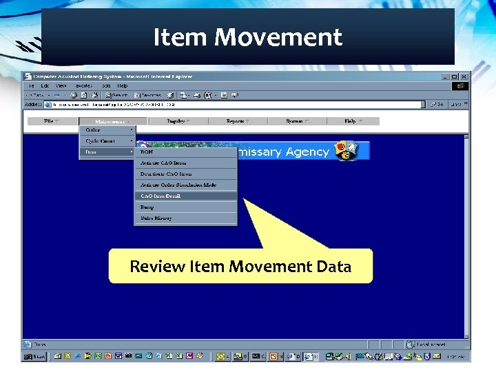 Item Movement Review Item Movement Data