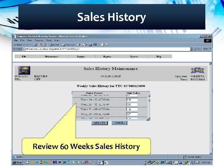 Sales History Review 60 Weeks Sales History