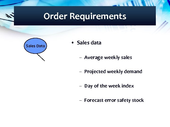 Order Requirements Sales Data • Sales data – Average weekly sales – Projected weekly