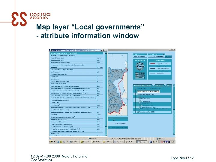 """Map layer """"Local governments"""" - attribute information window 12. 09. -14. 09. 2006; Nordic"""