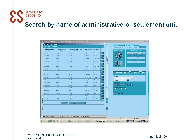 Search by name of administrative or settlement unit 12. 09. -14. 09. 2006; Nordic