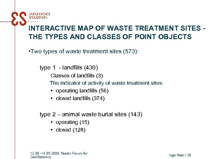INTERACTIVE MAP OF WASTE TREATMENT SITES THE TYPES AND CLASSES OF POINT OBJECTS •