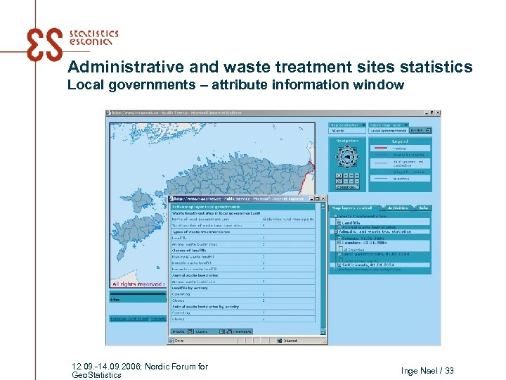 Administrative and waste treatment sites statistics Local governments – attribute information window 12. 09.