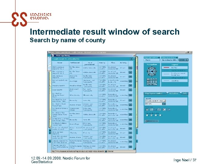 Intermediate result window of search Search by name of county 12. 09. -14. 09.