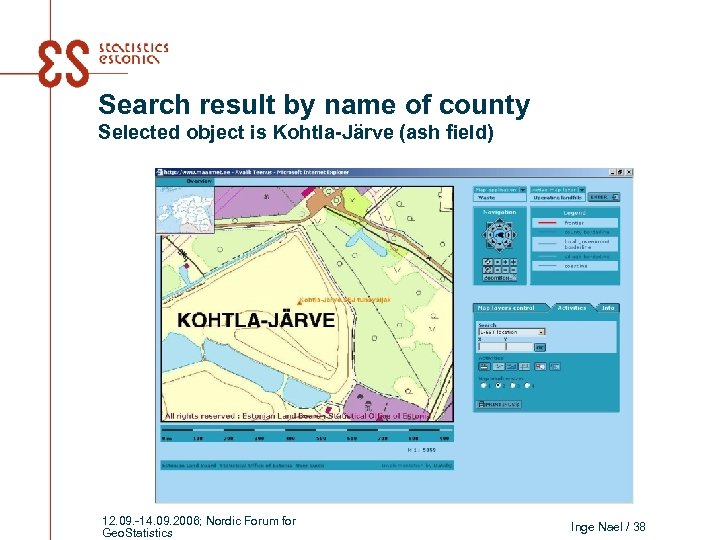 Search result by name of county Selected object is Kohtla-Järve (ash field) 12. 09.