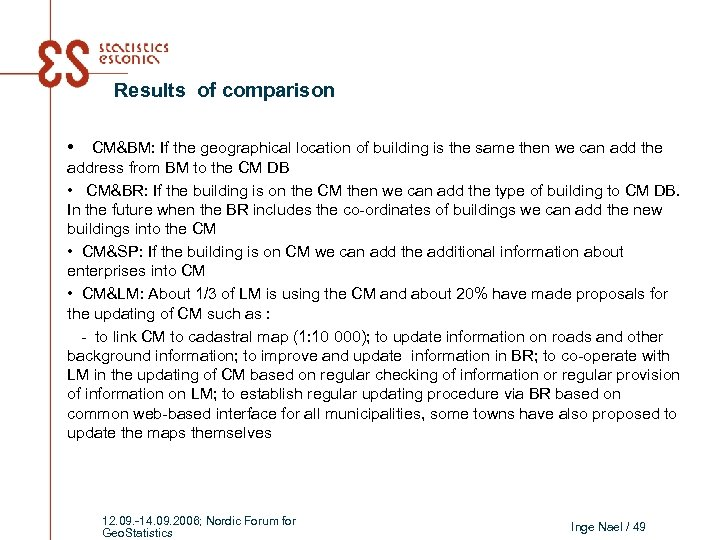 Results of comparison • CM&BM: If the geographical location of building is the same