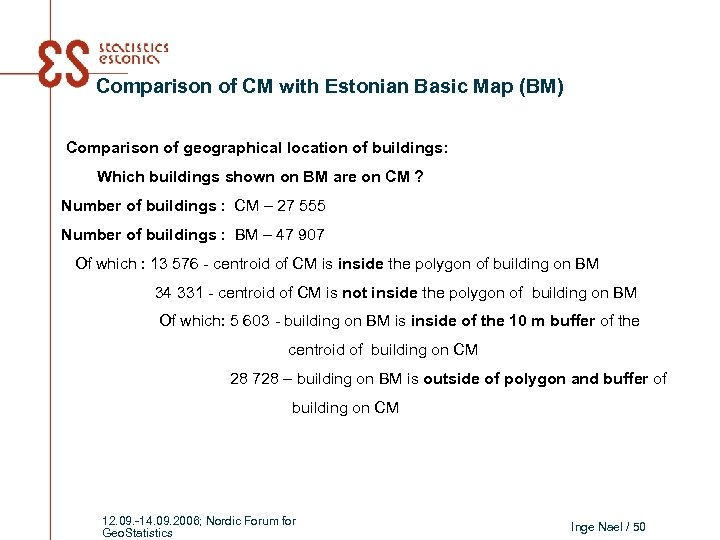 Comparison of CM with Estonian Basic Map (BM) Comparison of geographical location of buildings: