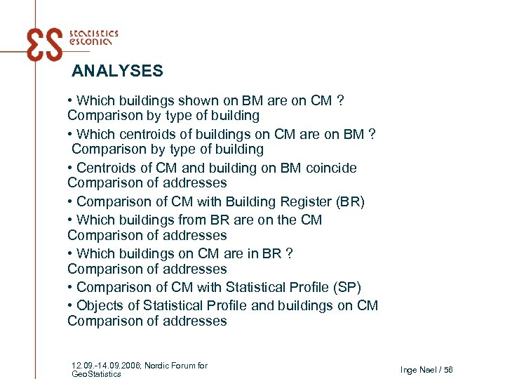ANALYSES • Which buildings shown on BM are on CM ? Comparison by type