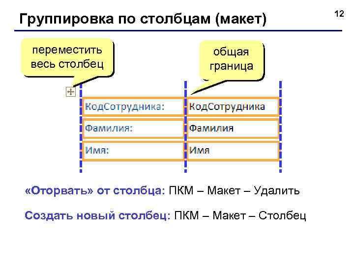 Группировка по столбцам (макет) переместить весь столбец общая граница «Оторвать» от столбца: ПКМ –