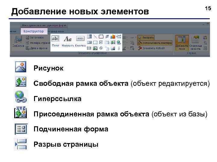 Добавление новых элементов 15 Рисунок Свободная рамка объекта (объект редактируется) Гиперссылка Присоединенная рамка объекта