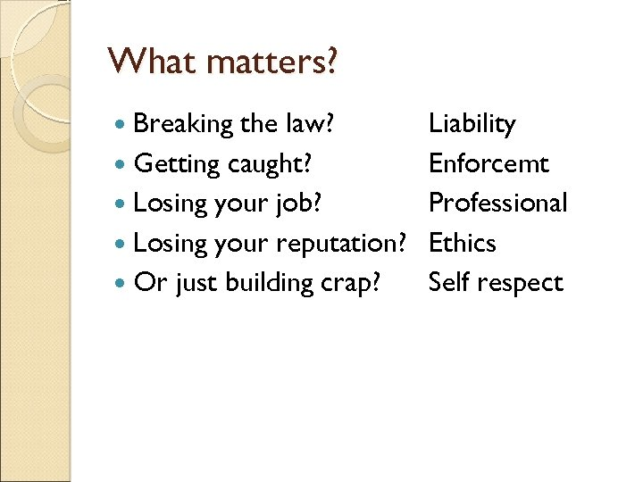 What matters? Breaking the law? Getting caught? Losing your job? Losing your reputation? Or