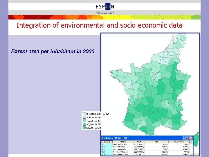 Integration of environmental and socio economic data Forest area per inhabitant in 2000