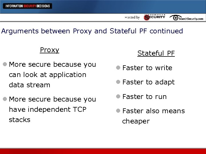 Arguments between Proxy and Stateful PF continued Proxy Stateful PF l More secure because