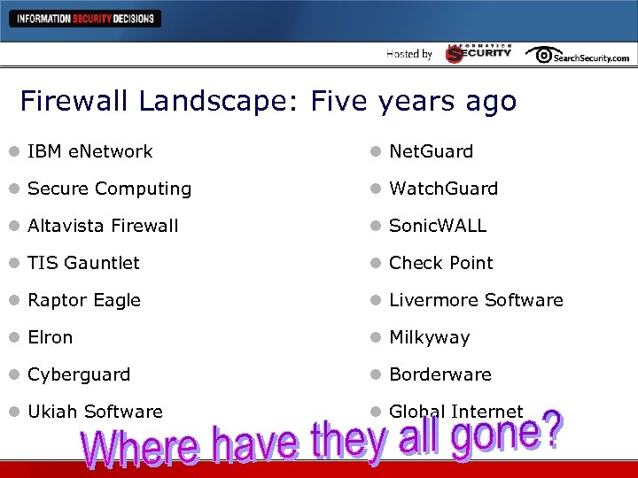 Firewall Landscape: Five years ago l IBM e. Network l Net. Guard l Secure