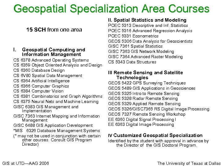 Geospatial Specialization Area Courses II. Spatial Statistics and Modeling 15 SCH from one area