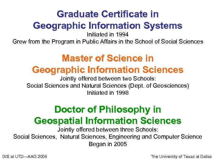 Graduate Certificate in Geographic Information Systems Initiated in 1994 Grew from the Program in