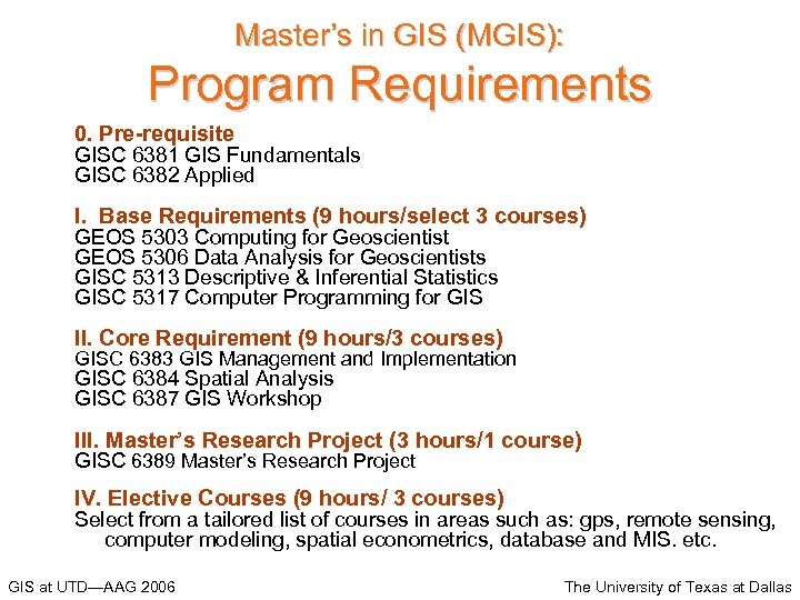 Master's in GIS (MGIS): Program Requirements 0. Pre-requisite GISC 6381 GIS Fundamentals GISC 6382