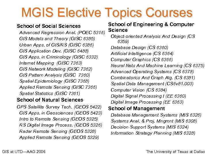 MGIS Elective Topics Courses School of Engineering & Computer Science Advanced Regression Anal. (POEC