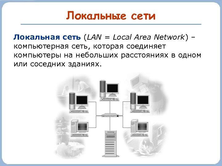 Локальные сети Локальная сеть (LAN = Local Area Network) – компьютерная сеть, которая соединяет