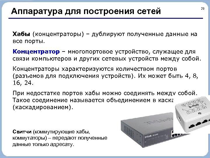 Аппаратура для построения сетей 29 Хабы (концентраторы) – дублируют полученные данные на все порты.