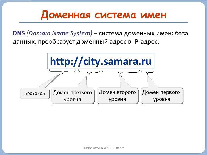 Доменная система имен DNS (Domain Name System) – система доменных имен: база данных, преобразует