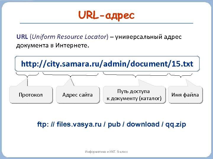 URL-адрес URL (Uniform Resource Locator) – универсальный адрес документа в Интернете. http: //city. samara.