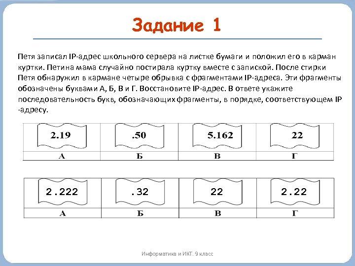 Задание 1 Петя записал IP-адрес школьного сервера на листке бумаги и положил его в