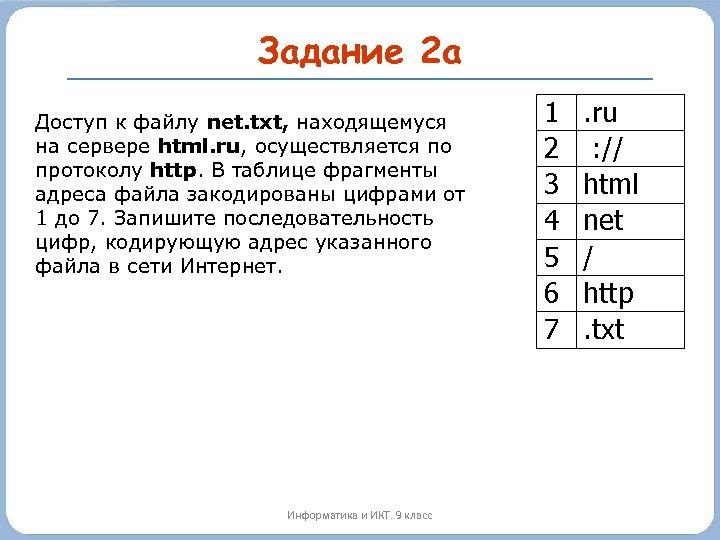 Задание 2 а Доступ к файлу net. txt, находящемуся на сервере html. ru, осуществляется