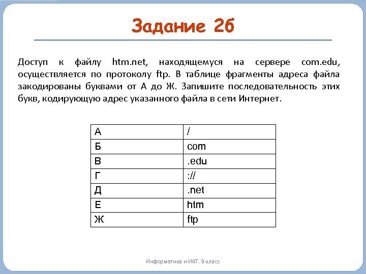 Задание 2 б Доступ к файлу htm. net, находящемуся на сервере com. edu, осуществляется