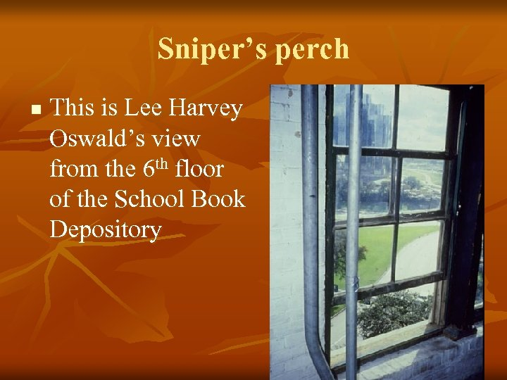 Sniper's perch n This is Lee Harvey Oswald's view from the 6 th floor