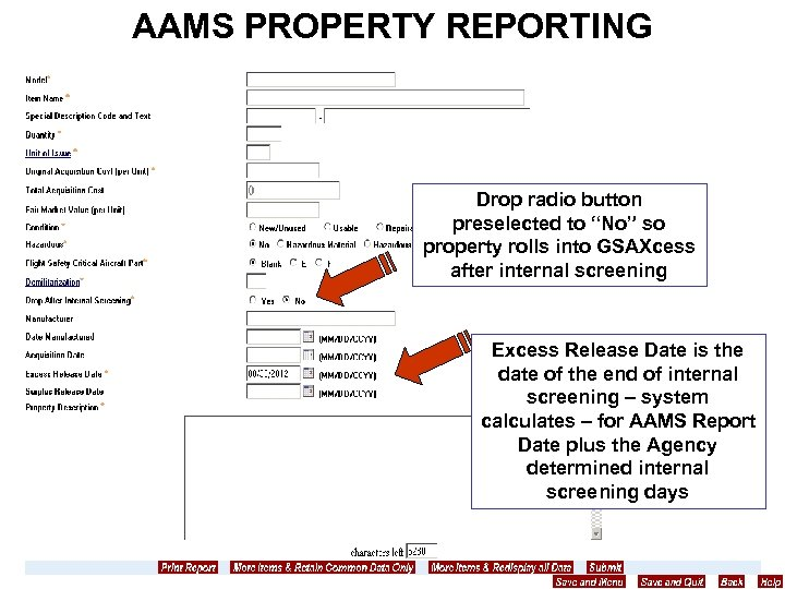 """AAMS PROPERTY REPORTING Drop radio button preselected to """"No"""" so property rolls into GSAXcess"""