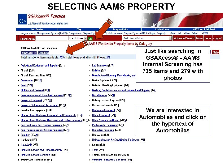 SELECTING AAMS PROPERTY Just like searching in GSAXcess® - AAMS Internal Screening has 735