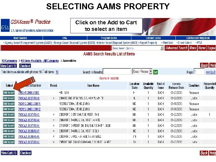 SELECTING AAMS PROPERTY Click on the Add to Cart to select an item
