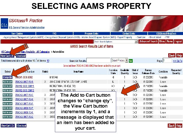 """SELECTING AAMS PROPERTY The Add to Cart button changes to """"change qty"""", the View"""