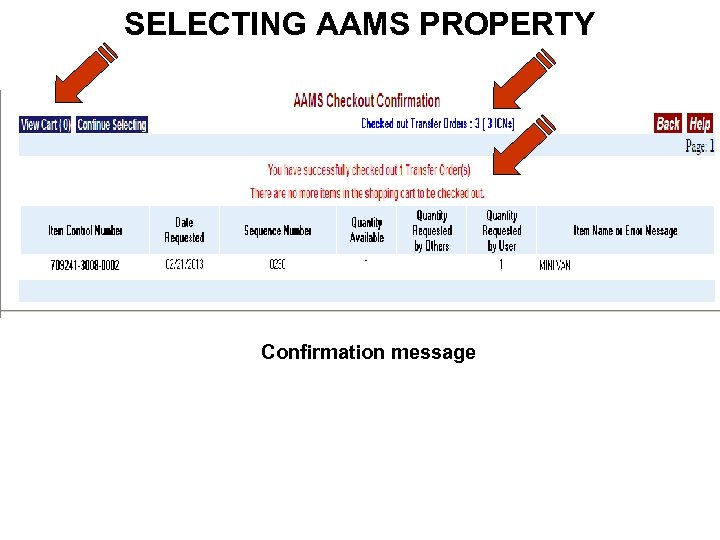 SELECTING AAMS PROPERTY Confirmation message