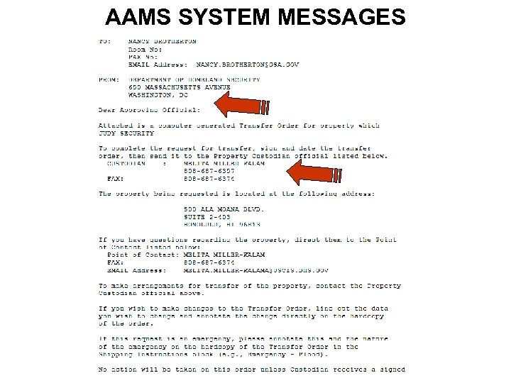 AAMS SYSTEM MESSAGES