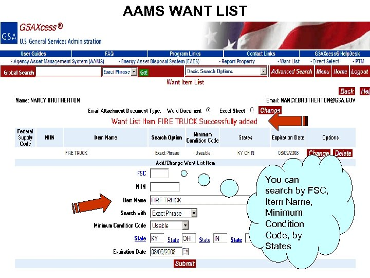 AAMS WANT LIST You can search by FSC, Item Name, Minimum Condition Code, by