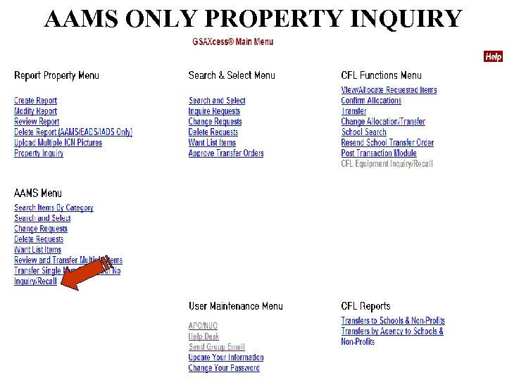 AAMS ONLY PROPERTY INQUIRY